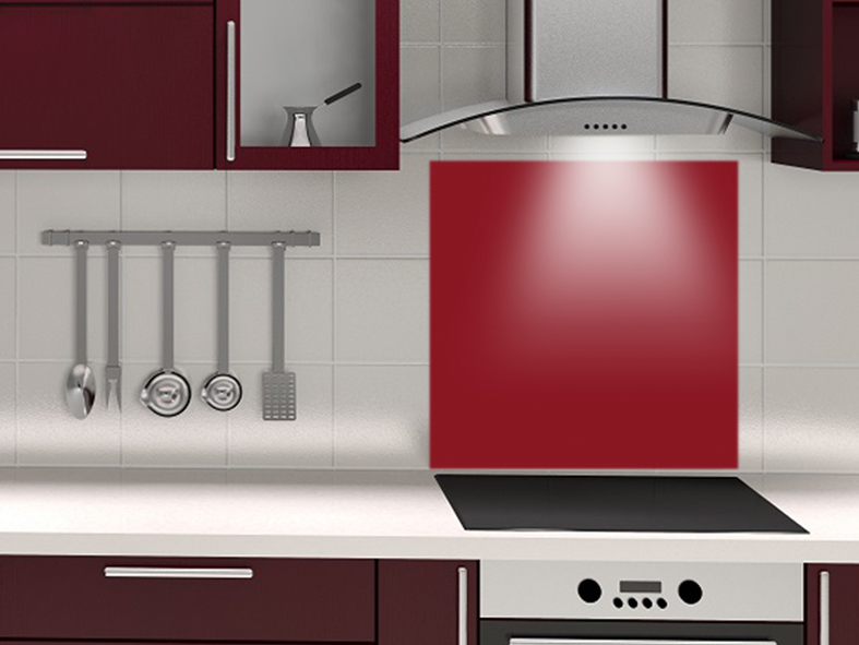 fond de hotte sur mesure rouge carmin. Black Bedroom Furniture Sets. Home Design Ideas