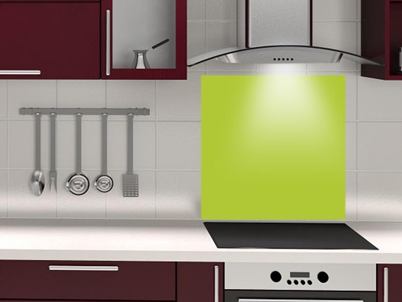 fond de hotte sur mesure vert pomme. Black Bedroom Furniture Sets. Home Design Ideas