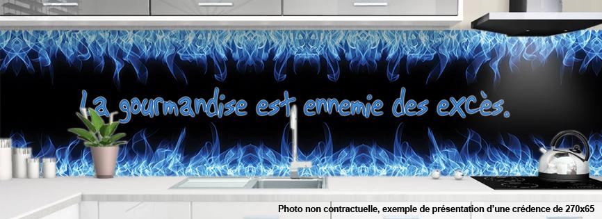 credence decorative pour cuisine motif flamme gaz. Black Bedroom Furniture Sets. Home Design Ideas