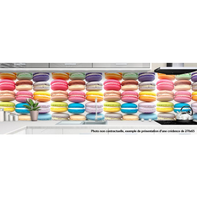 Cr dence verre cuisine sur mesure motif macarons 1 for Credence cuisine coloree