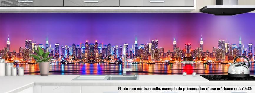 Credence cuisine verre ou alu motif new york 1 - Deco cuisine new york ...
