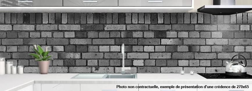 Credence Brique : Crédence alu ou verre cuisine motif briques grises