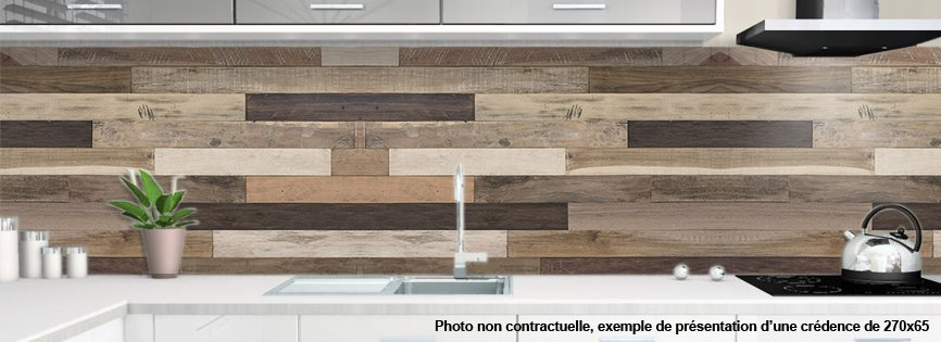 cr dence de cuisine en aluminium motif bois bridges. Black Bedroom Furniture Sets. Home Design Ideas