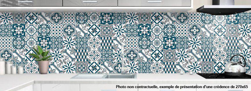 crédence de cuisine décorative | CARREAUX DE CIMENT BLEUS