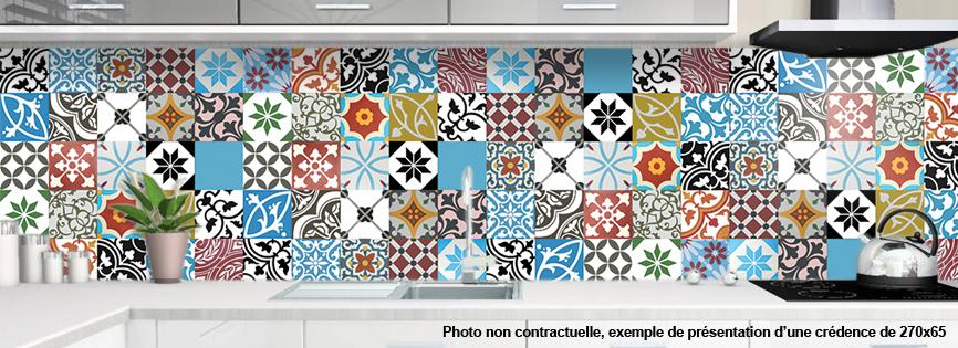 Credence a coller pour cuisine carreaux ciment patchwork - Credence carreau de ciment cuisine ...