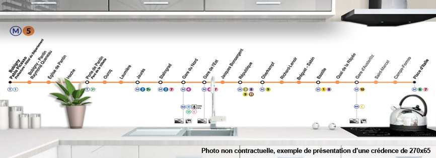 Credence De Cuisine Decorative Metro Paris Ligne 5