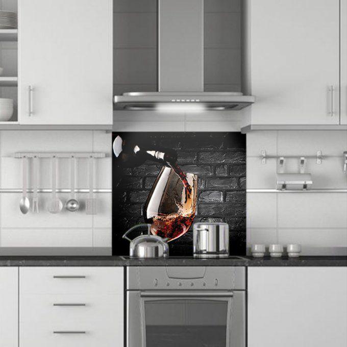 Cr dence de cuisine d corative verre vin gris - Credence decorative cuisine ...