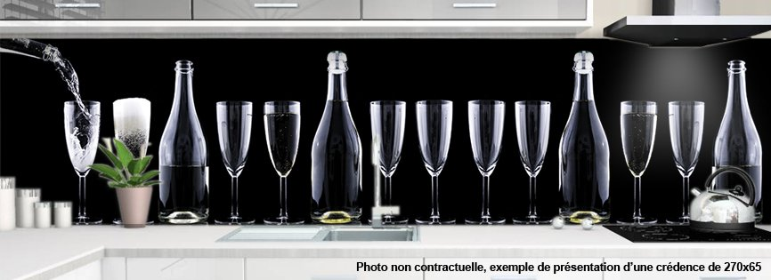 Cr dence de cuisine d corative wine glass - Credence decorative cuisine ...